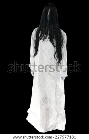 Ghost Girl Horror isolated on black background with clipping path - stock photo
