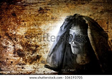 ghost grunge portrait , black widow - stock photo