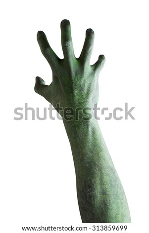 Ghost hand halloween isolated on white background with clipping path - stock photo