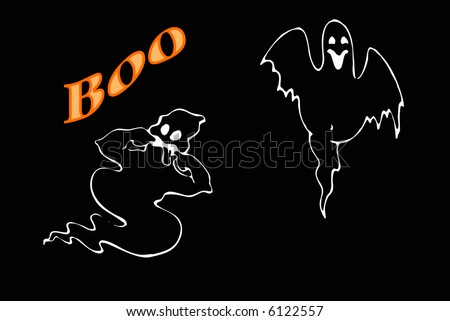 Ghost illustration with black background and the word boo in orange.