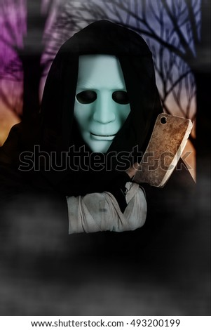Ghost Killer man in mask and hood hold chopping knife,costume for Halloween night
