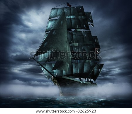 ghost ship at night and fog