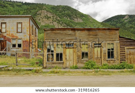 Ghost town buildings in St. Elmo near Buena Vista, Colorado, U.S.A. - stock photo