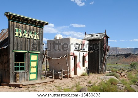 Ghost town in the Wild West - stock photo