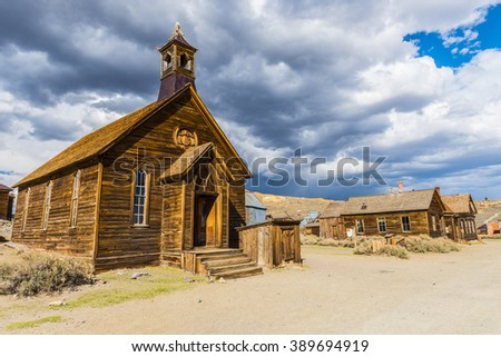 Ghost town of Bodie is a National Historic Landmark. It is located in Mono County, Sierra Nevada - California. United States of America. The town was founded in 1859. - stock photo
