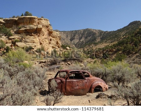 ghost town of sego, utah - stock photo