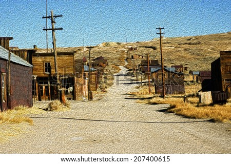 ghost town oil painting - stock photo