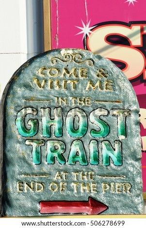 Ghost train sign for pier