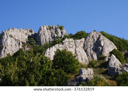 Ghost valley. Rock formations, mountain Demerdzhi in Crimea, Ukraine