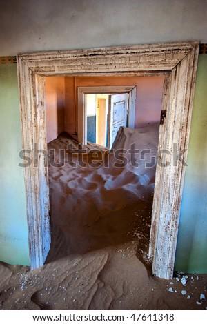 Ghosthouse Kolmanskop, Namib Desert, Namibia - stock photo