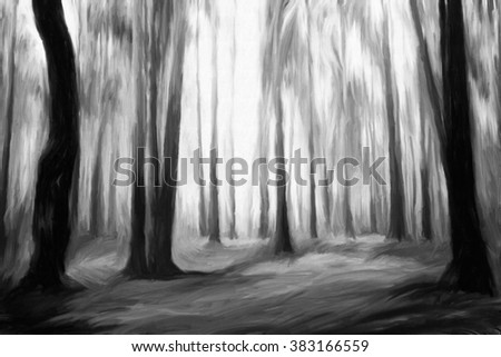 ghostly black forest abstract watercolor oil painting  - stock photo