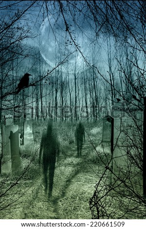 Ghosts come out of the graves in the old cemetery with full moon - stock photo