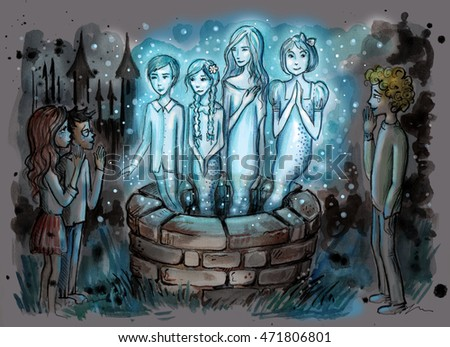 Ghosts from the well. Watercolor illustration of kids standing around a well with four magic ghost. Kids surrounded by dark night. Hand drawn illustration digitally colored