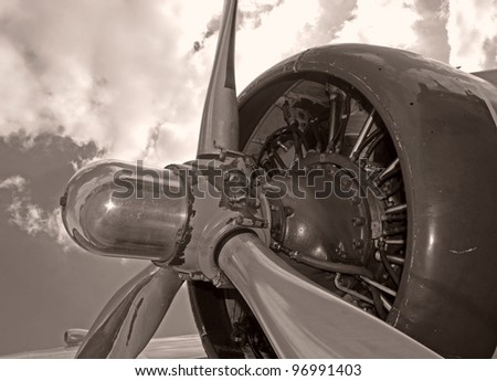 Giant airplane propeller from vintage airplane - stock photo