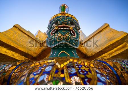 Giant at Wat Phra Kaeo Grand Palace, Bangkok Thailand, full official name Wat Phra Si Rattana Satsadaram. - stock photo
