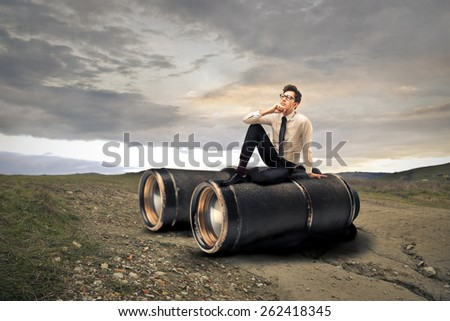 Giant binoculars  - stock photo