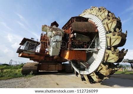 Giant bucket wheel excavator for open pit coal mine - lignite - stock photo