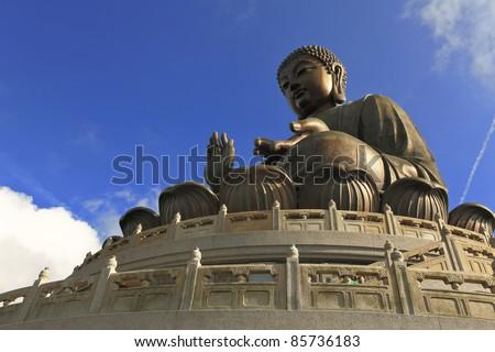 Giant Buddha at Ngong Ping , Hong Kong - stock photo