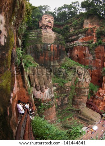 Giant buddha in Leshan - stock photo