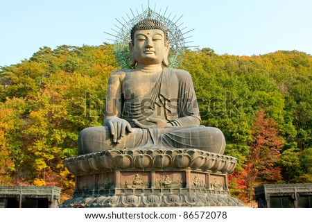 giant buddha in Soraksan national park - south korea - stock photo