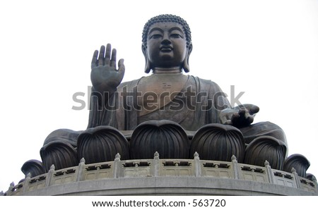 Giant Buddha statue in Hong Kong - stock photo