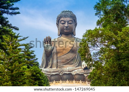 Giant Buddha Statue in Tian Tan. Hong Kong, China  - stock photo