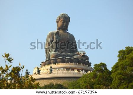 Giant Buddha Statue in Tian Tan. Hong Kong, China - stock photo