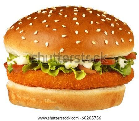 giant burger,fish burger, - stock photo
