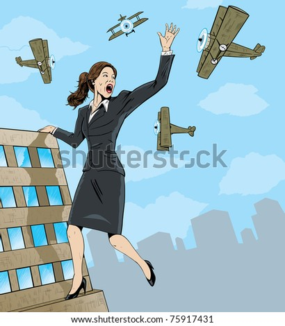 Giant Business woman. - stock photo