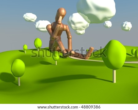Giant cartoon puppet - stock photo