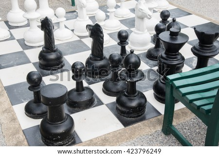 Giant Chess Set outdoors.