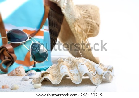 giant clam in front of beach bag and accessories on white background - stock photo