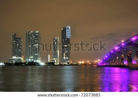 Giant condos next to the MacArthur Causeway - stock photo
