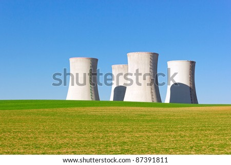 giant cooling towers of nuclear power plant - stock photo