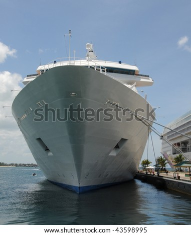 Giant cruise in port front view - stock photo