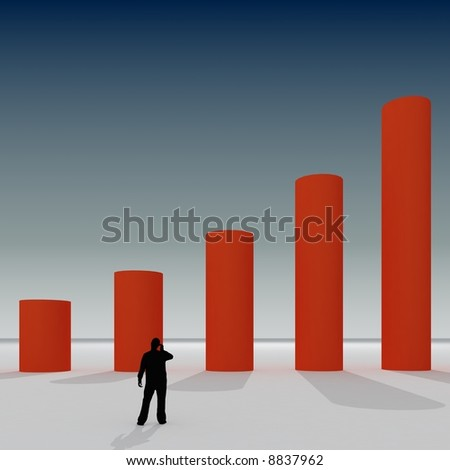 Giant 3d chart with small some people on abstract background