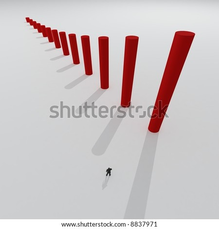 Giant 3d chart with small some people on abstract background - stock photo