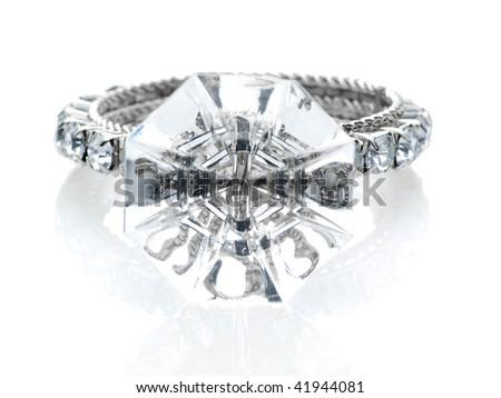 Giant diamond ring - stock photo