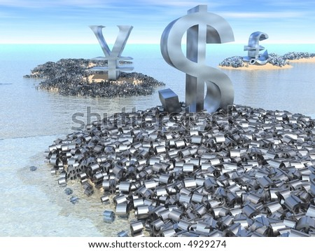 Giant dollar, yen and pound symbols sit on their land masses surrounded by a mass of smaller currency symbols. - stock photo