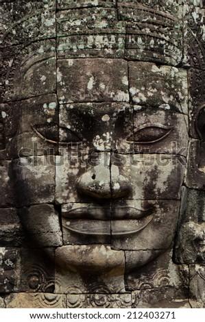 giant face tower at Bayon, Angkor Wat - stock photo