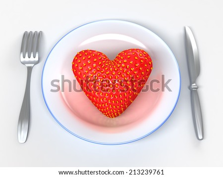 Giant fantasy strawberry on white dish. Metaphorical 3d illustration