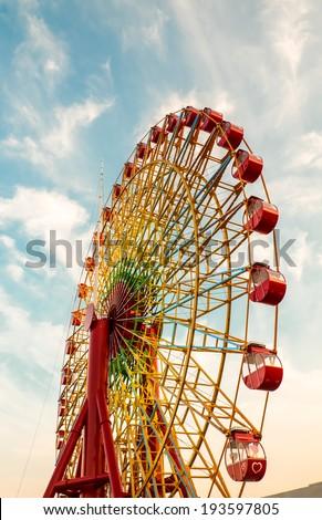 Giant ferris wheel old style. - stock photo