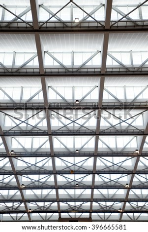 Giant glass roof texture and background. - stock photo