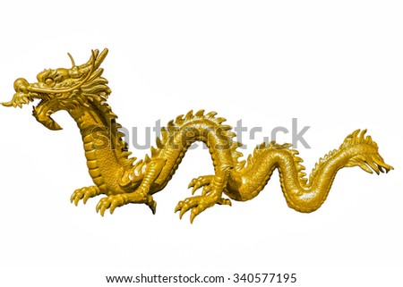 Giant golden Chinese dragon on isolate background - stock photo