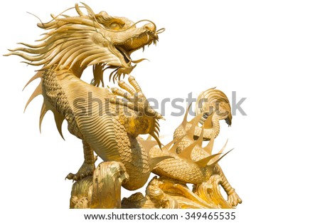 Giant golden Chinese dragon on isolate background with clipping part