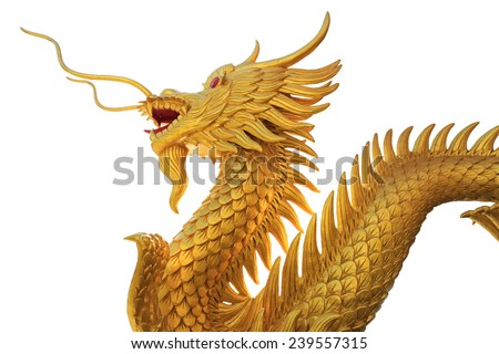 Giant golden Chinese dragon on isolate white background - stock photo