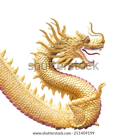 Giant golden Chinese dragon on isolated background - stock photo