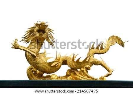 Giant golden Chinese dragon  on white background  - stock photo
