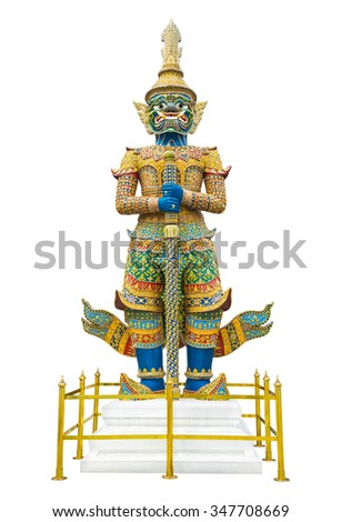 Giant guardian statue in Wat Phra Kaew Grand Palace Bangkok Thailand isolated on white background - stock photo