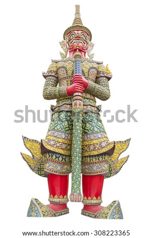 Giant guardian wat phra kaew grand palace bangkok , thailand isolated on white background with clipping path - stock photo